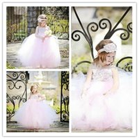 Baby Pink Flower Girls Dresses 2015 Ball Gowns Empire Waist ...