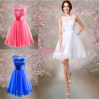 2015 Coral Royal Blue White Short Homecoming Dresses with Be...