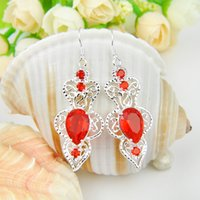 Party Jewelry- - 2pairs Lot Lucky Shine Unique Drop Red Quartz...