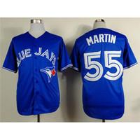 # 55 Рассел Мартин Синий трикотажных изделий бейсбола Блю Джейс Прохладный Base Аутентичные Mens бейсбола Wears 2015 Новейшие Открытый Спортивный Униформа для продажи