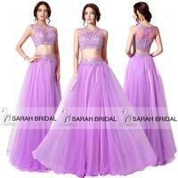 2015 Two Piece Prom Dresses Gorgeous Lavender Tulle Maxi Lon...