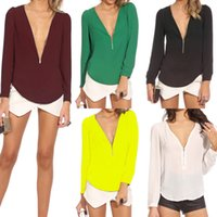 Newest Sexy Zipper V- neck Chiffon for Women Shirt Tops Long ...