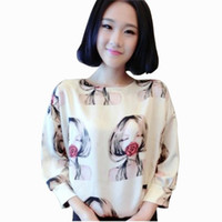 Summer Autumn Blouses Women Loose Chiffon Shirt Korean Round...