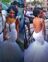 Sexy 2015 белый майкл Костелло Backless русалка свадебные платья погружаясь шеи кружева суд поезд аппликаций тюль свадебные платья