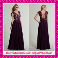 2015 Modest Grape Lace Chiffon Evening Gowns Sheer Crew Neck...
