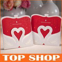 Customize Red & White Wedding Invitations Free Printing 15*1...