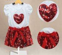 New Summer Children Girls Sequins Heart Shaped Short Sleeve ...