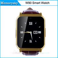 горячий W90 NFC Смарт часы 2.0MP камера Anti-потерянный Полный вид Кожаный ремешок карта TF поддержки шагомер Sleep Monitor для Android IOS Телефон 010223