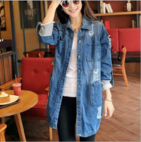 Women Demin Jackets Coat Spring Fall New Korean Loose Hole J...