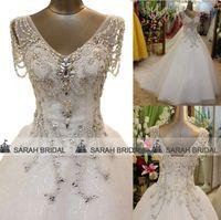 Royal Luxury Crystals Wedding Dresses with Beaded Cap Sleeve...