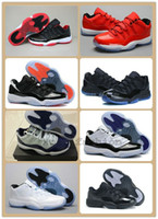 Wholesale XI(11) LOW Bred Retro Basketball Shoes Black Red S...