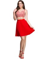 Grace Karin 2016 Red Sexy Two Pieces Sequins Short Party Coc...