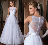 High Neck Lace Wedding Dresses 2016 Sexy Sleeveless Sash She...