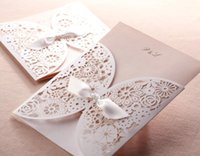 Hollow Wedding Invitation Cards Romantic White Flower Lace C...