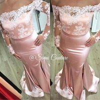 2016 New Off The Shoulder Lace Satin Evening Dresses Illusio...