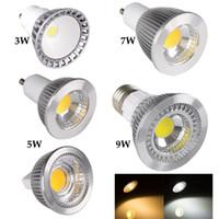 Super brillante GU10 COB Led 5W 7W 9W bombillas de 60 ángulo regulable E27 E26 E14 MR16 LED Focos caliente / puro / blanco frío 110-240 12V