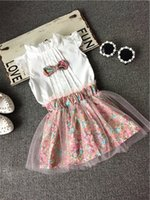 2015 summer new kids girls tie sleeveless T- shirt + gauze sk...