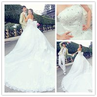 2015 Luxury Monarch Train Lace Wedding Dresses With Crystals...