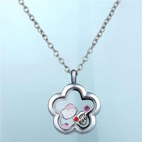 Real Zinc Alloy Plum Frame Glass Lockets Necklaces Oval floa...
