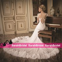 Daniel Romi Kadosh 2015 Mermaid Wedding Dresses with Sheer L...