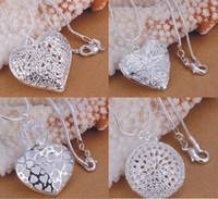 Promotion 4 925 collier pendentif coeur des femmes pour enfants Mode Bijoux 925 bijoux en argent Day Mix cadeau Collier 4Style de Valentine 20pcs