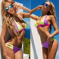 Hot Newest Sexy Women Boho Ethnic Swimwear Halter Bra Push U...