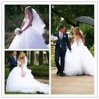 Ball Gown Wedding Dresses 2015 Beading vestido de noiva Whit...