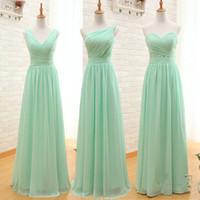Mint Green Длинные платья невесты Дешевые 2017 года смешанный тип Pleats шифоновое платье Bridesmaids выполненные на заказ Свадебные платья гостей в возрасте до 50