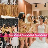Металлические Искорка платья невесты 2016 года Мода Стили Короткие мини-юбки горничной честь платья для невесты девичники Wear Дешевые Продажа