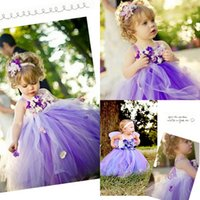 Purple Flower Girls Dresses 2015 Spaghetti Hand- made Flower ...
