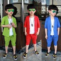 Cotton Solid Kid Boys' 3PCS Set Suit White Vest + Half S...