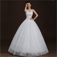 New Design V- Neck Bride Wedding Dress Strapless Ball Gown Pr...