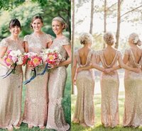 2015 Bridesmaid Dresses with Cap Sleeves Sweep Train Champag...