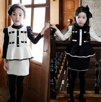 Korean Style Girls Fresh Button Pattern Sets Children Cotton...
