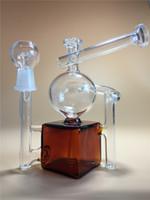 2015 Livraison gratuite Le plus petit recycler en verre mini bongs 6 tubes d'eau de pouce La couleur claire ambrée square with14.5mm joint l'eau bongs l'expédition libre