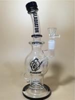 Bong en verre plus nouveau avec la boule noire Bal de roche Perc Recycler Spiral Rig Bong en verre courbé Tubes d'eau en verre Narguilé shisha NARGILE