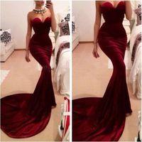 Burgundy Mermaid Velvet Evening Dresses 2015 Vintage Sweethe...