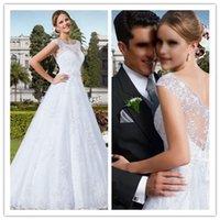 2015 Wedding Dresses with Sash Wedding Dress with Cap Sleeve...