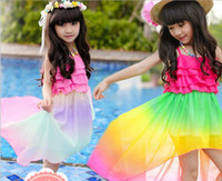 Girls Sleeveless Sun Dress Children Clothing 2015 Summer Col...