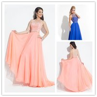 High Neck Prom Dresses with Sparkling Sequins 2015 Ruffle Ch...