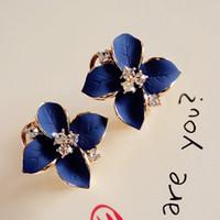 Новый 2015 Благородный синий дамы Кристалл серьги стержня 18K покрыло цветка камелии Rhinestone серьги для женщин