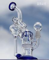 Bong! Conduite d'eau! Nouveau Bongs en verre double Recycler avec seau 100% quartz couleur bleue 10