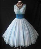 Vintage 1950 и усилителя ; # 039 , S бальное платье чай длины Короткие Пром платья платья V -образным вырезом Puffy рюшами шифон Christmas Party Dress реального образца