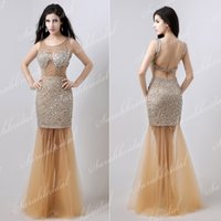 See Through Vestidos Formal Dress Gold In Stock XU018 Evenin...
