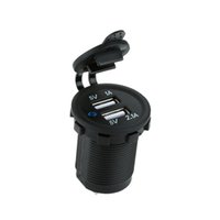 Auto Moto 2 Presa USB Charger Power Adapter Presa Power Smart Phone Charger DC 5V 2.1A / 1A per camion dell'automobile Minibus ATV barche DHL K2764