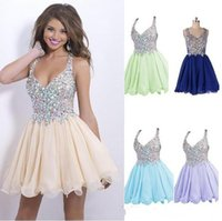 2015 new cheap blush homecoming dresses hot selling halter s...