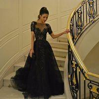 Черные бисера Вечерние платья с короткими рукавами Zuhair Murad 2016 года Дубай арабские Блестки женщины носят линию Вечерние платья выпускного вечера