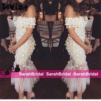 Элегантный с плеча Свадебные вечерние платья с кружевными цветами чай длины Robe De Soiree 2016 Дешевые Горячий коктейль-клуб Люкс для партии платья