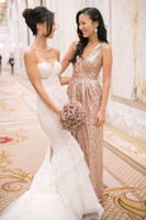 2015 Sequins bridesmaid dress with V neck pleats ruches Sexy...