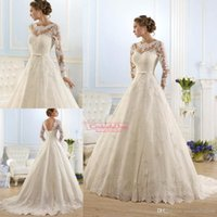 2016 Spring Fall Arabic Dresses A- Line Sheer Wedding Dresses...
